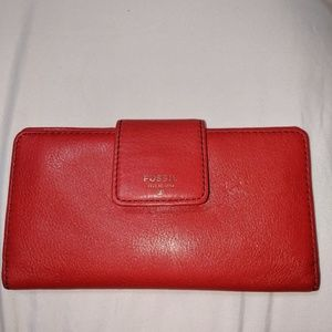 Fossil bright red wallet/pink inside